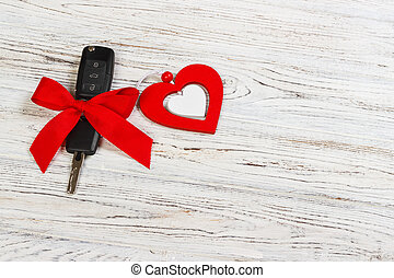 valentine's day or christmas car key gift. Car key with a ...