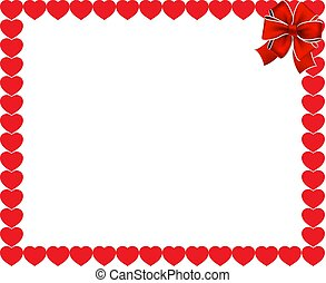 valentines frame with red hearts and ribbon