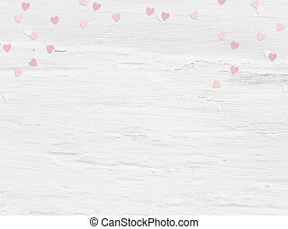 Valentines day or wedding mockup scene paper hearts confetti and empty space for text. Grunge white background, flat lay image. Top view.