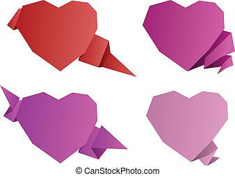 Valentines day origami hearts