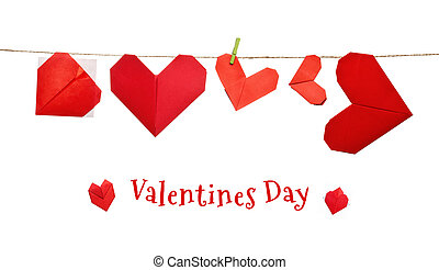Valentines day origami hearts on a rope