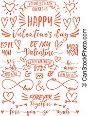 Valentine's day overlays, vector set
