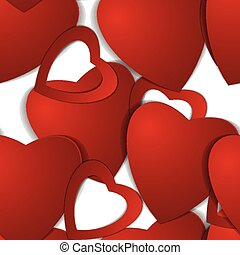 valentines, day., papel, hearts.