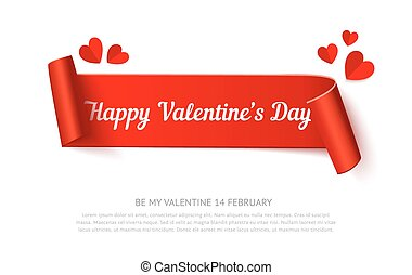 Valentines day paper curl ribbon banner, realistic vector...