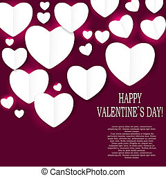 Valentines day paper heart backgroung, vector illustration