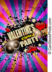 Valentine's Day party flyer background with music and love...
