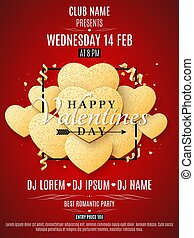 Valentines Day party flyer. Golden hearts of glitters in a black frame. Love banner. Romantic composition on a red background. Confetti of shining hearts. Invitation to the club. Vector.