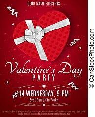 Valentines Day party flyer. Red box from the heart and a white ribbon with a bow. Romantic composition on a dark red background. Confetti of hearts. Invitation to the club. Vector.