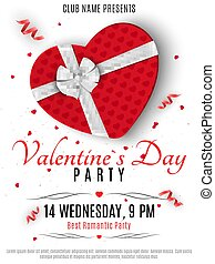 Valentines Day party flyer. Red box from the heart and a white ribbon with a bow. Romantic composition on a white background. Confetti of hearts. Invitation to the club. Vector.
