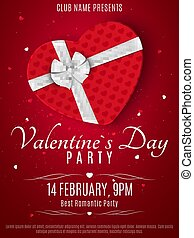 Valentines Day party flyer. Red box from the heart and a white ribbon with a bow. Romantic composition on a dark red background. Colorful confetti. Invitation to the night club. Vector.