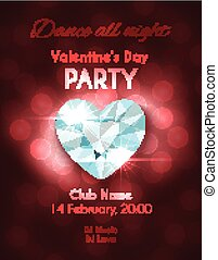 Valentines Day Party Flyer. Vector design with shiny diamond...
