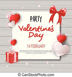 Valentines Day Party Invitation Template Flyer Design Love...