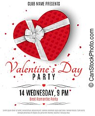 Valentines Day party poster. Red box from the heart and a white ribbon with a bow. Romantic composition on a white background. Confetti of hearts. Invitation to the club. Vector.