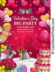 Valentines Day party poster with Cupid and hearts
