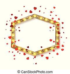 Valentine's day party. Retro light banner.Valentine's card....