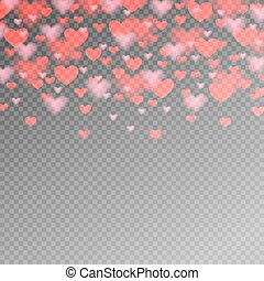 valentines day pattern with red heart on transparent background