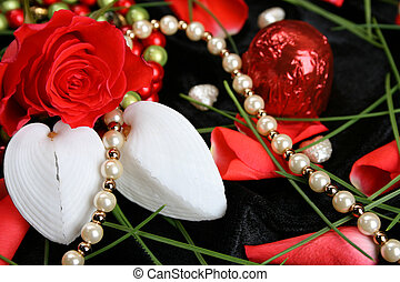 Valentines Day Pearls - Valetines day rose with heart shaped...