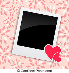 Valentine`s Day Photo Card with Heart Vector Illustration