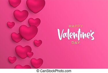 Valentines Day pink heart shape love concept card