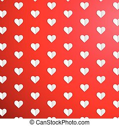Valentines Day polka dot pattern with paper hearts