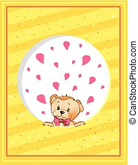 Valentines Day Postcard Template with Teddy Bear