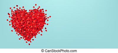 Valentines Day Postcard With Red Hearts Blue Background