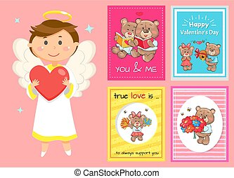 Valentines Day Postcards, Cupid and Teddy Bears
