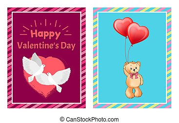 Valentines Day Postcards with Doves and Toy Bear