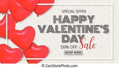 Valentine's Day poster design sale promotion with red heart balloons Background