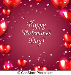 Valentines Day Poster With Red Hearts Red Background