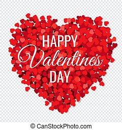 Valentines Day Poster With Red Hearts Transparent Background