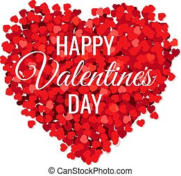 Valentines Day Poster With Red Hearts White Background