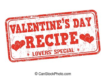 Valentines day recipe grunge rubber stamp on white background, vector illustration