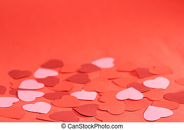 Valentines day red background with many paper hearts