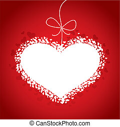 Valentines Day red card with heart, vector illustration