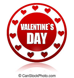 valentines day red circle banner with hearts symbols