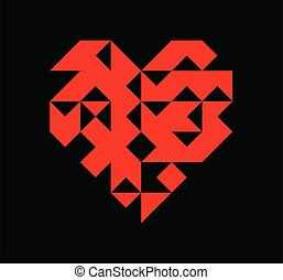 Valentine's day red geometry heart