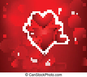 Valentines day red hearts vector fantastic background