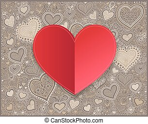 Valentines day red paper hand drawing on heart shape background