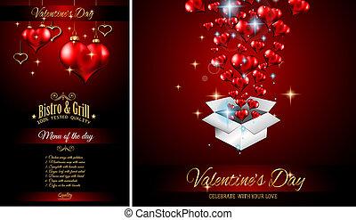 Valentine's Day Restaurant Menu Template Background