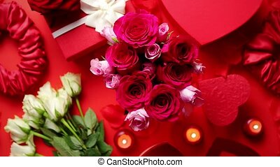 Valentines day romantic decoration with roses, boxed gifts,...