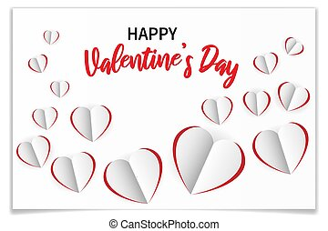 Valentines day romantic greetng card with paper hearts cut out from paper. Realistic symbols of love with shadow on white background. Vector illustration for 14 February
