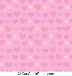 Valentines day romatic decorative seamless pattern with gentle red, pink and orange hearts on light pink background, eps10 vector retro style vintage design illustration