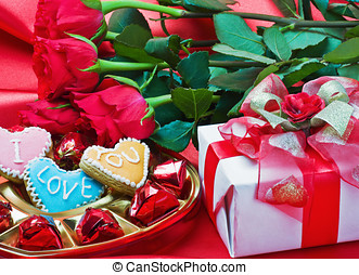 Valentine's day roses, candles and gift