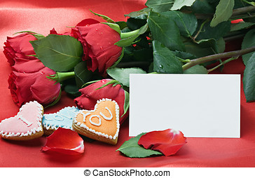 Valentine's day roses, cookies and gift
