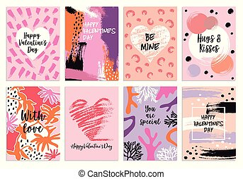 Valentine's day s card templates, vector set