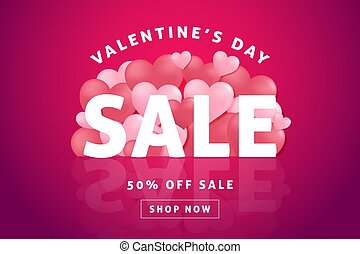Valentines day sale background with heart shaped balloon.