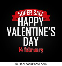 Valentine`s day sale background with ribbon. Vector illustration