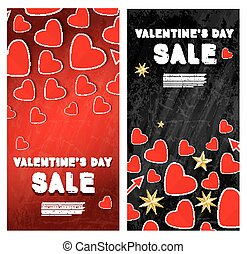 Valentine's Day Sale Banner Set with Hearts.