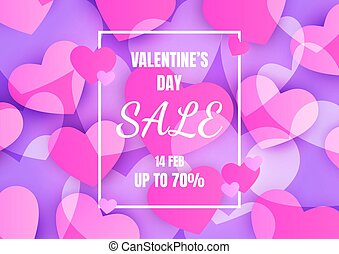 Valentines day sale banner with heart abstract background